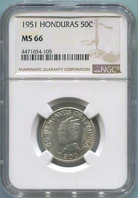 1951 Honduras 50 Cents. NGC MS66