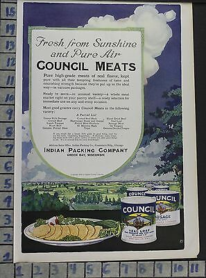 1919 Council Indian Dinner Green Bay Wi Kitchen Meat Home Decor Art Ad  Bv42