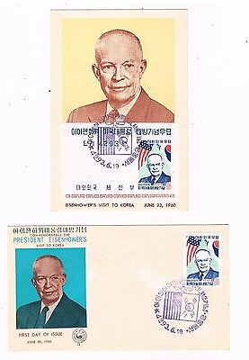 1960 Korea first day covers Scott #305 & 305A  President Eisenhower visits Korea