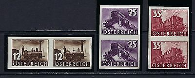 1937 Austria Scott 385-387 Austrian Railways imperf pairs MNH/MXLH marked Stolow