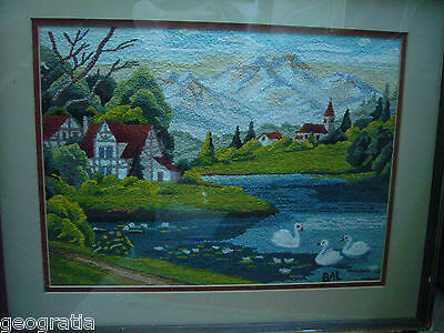 Japanese Bunka Punch Needle Embroidery Swans And Water Scene Finished Framed