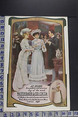 1905 Food Baking Cocoa W. Baker Co Dorchester Fashion Party Vintage Ad Ec023