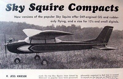 "Vintage SKY SQUIRE JR. 48"" Span RC Model Airplane PLAN + Construction Article"