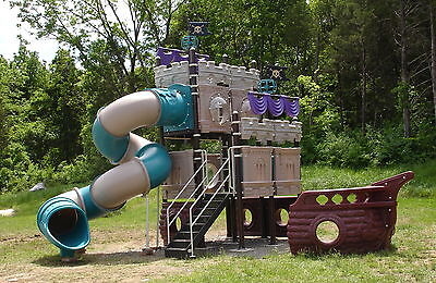 Pirate Themed Outdoor Play Structure w/Slide Industrial Grade Steel & Plastic