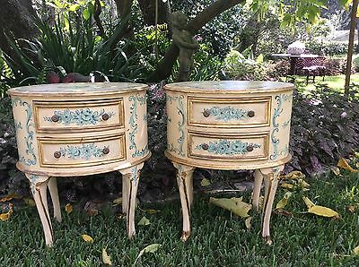 Pair GORGEOUS Old Vtg  Italian FLORENTINE NIGHT STAND Oval Side Lamp Tables