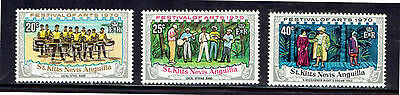 St. Kitts - Nevis #227-229  1970  Local Steel Band  Mint  Vf Nh  O.g