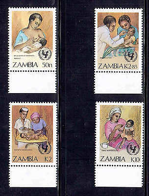 Zambia #440-443  1988  U.n Child Survival  Mint  Vf Nh  O.g