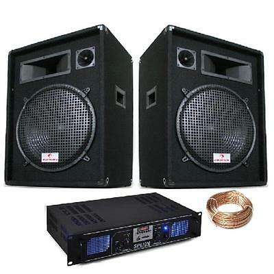 New Dj Pa Hifi System 15 Inch Speakers Amplifier Wires Party Package Pro Quality