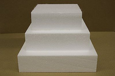 "Set of Three 6"", 8"" and 10"" Square Straight Edge Cake Dummies 3"" High - Free"