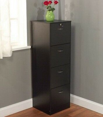 Legal Size File Cabinet Filing 4 Drawer Office Furniture Wood Storage Lock Tall