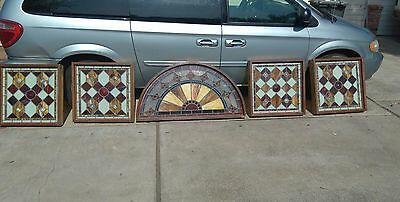 "Antique Stained Glass Windows 26""x26"" with oak frames leaded Pair"
