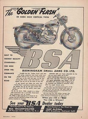 1954 BSA Motorcycle Ad: The BSA Golden Flash 40 Cubic Inch Vertical Twin