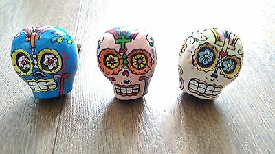 Sass & Belle Mexican Sugar Skull Drawer Knobs 3 Colours Day Of The Dead Pink