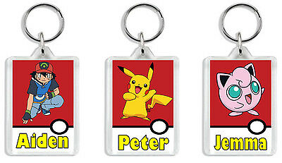 Personalised Pokemon Keyring / Bag Tag - Add any name *Great Gift* Large size