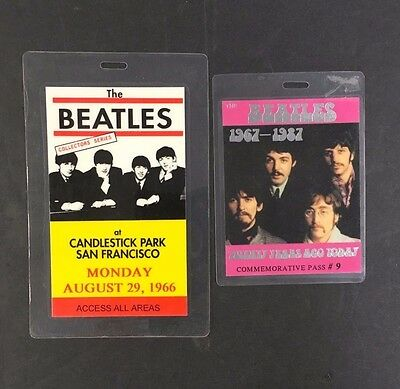 1966 + 1967 The Beatles backstage passes Candlestick Park + 20 years Ago Today