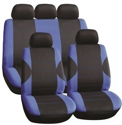 Ford Fusion 02-12 Luxury Seat Cover Set Black & Blue Race
