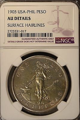 1903 Philippines Peso NGC AU Detailed Hairlines Silver ** FREE U.S. SHIPPING **