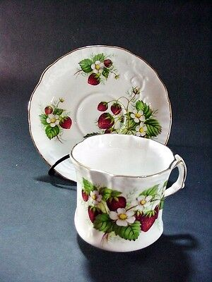 Hammersley / Spode:  Strawberry Ripe Cup Saucer, Scalloped & Embossed Gold Trim