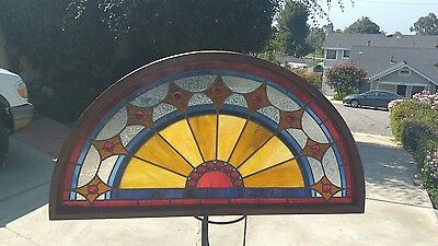 """Antique Round Top Stained Glass Window Jeweled  26""""x 50"""" Architectural Salvage"""