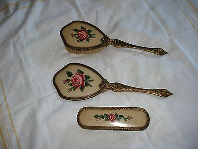 Vintage Embroidered Dressing Table/ vanity  Set Hand Mirror, 2 brushes