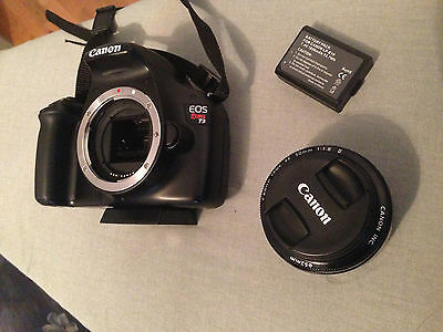 Canon T3 Rebel 1100D DSLR Camera With Canon Lens EF 50mm 1:1.8 With Case & Kit