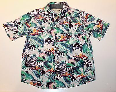 NEXT Baby boys White Blue Green Red Tropical Patterned Shirt age 1 1/2 - 2 Years