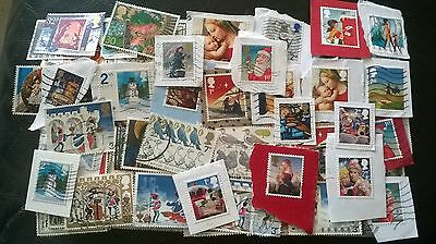 90 USED GB CHRISTMAS STAMPS, all diff, inc  high value On/Off PAPER LOTA822