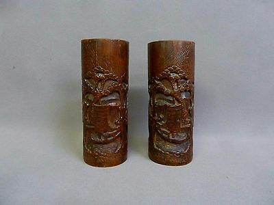 Pair of vintage Chinese hand carved bamboo brush pots / aka wood Asian vases.