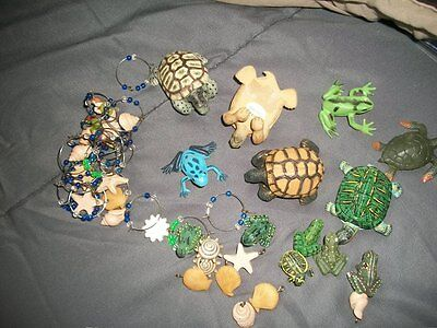 Lot of Turtles & Frogs, Seashell charms, wine charms craft supplies