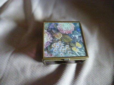 Vintage trinket box - Gold, Mirrors, &  pink  glass sides