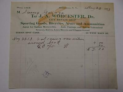 Agent Indian Motorcycles 1913 Repair Shop Receipt Middletown New York Book1 Sec2