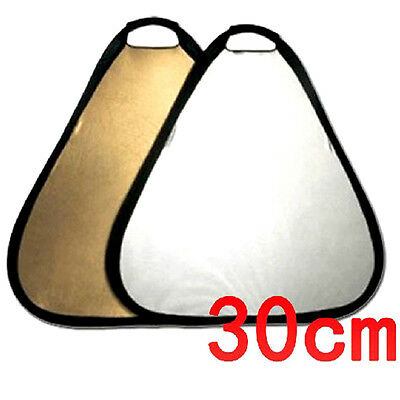 "2-in-1 Collapsible Triangle Studio Light Reflector - Gold & Silver 30cm (12"")"