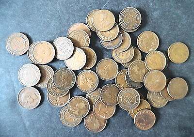 Lot of 47 Australia Half Penny Coins 1910s-50s Most are Pre 1940