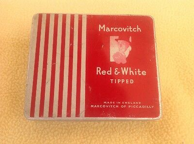 Collectable Vintage Cigarette Tin: Markovitch Red & White 20 Tipped