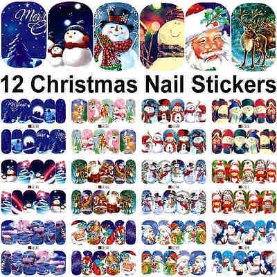 12 Sheets Christmas water transfer Xmas nail art decoration stickers decals