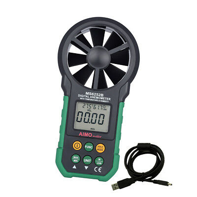 MS6252B Digital Anemometer T&Rh Sensor Air Wind Speed Velocity Meter USB