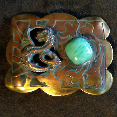 FOREST CRAFT GUILD Winged Dragon SASH PIN Arts&Crafts Acid-Etched Antique Brooch