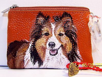 Sheltie Shetland Sheepdog hand painted genuine leather coin purse  with keyring