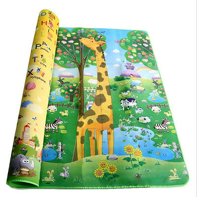 2 Side Soft Large Crawl Mat Baby Kid Toddler Playmat Waterproof Play Game Carpet