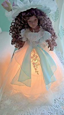 """16"""" Porcelain African American DOLL LAMP Child's Teen's Night Lite RARE!"""