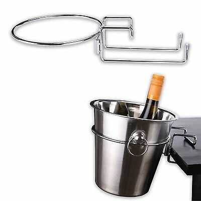 Chrome Plated Table Desk Side Champagne Wine Ice Bucket Holder Stand Cooler Rack