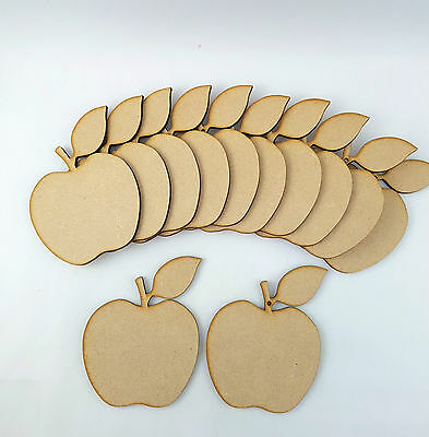 12 X Mdf Best Teacher Wooden  Apples Craft Shapes Ready To Embellish