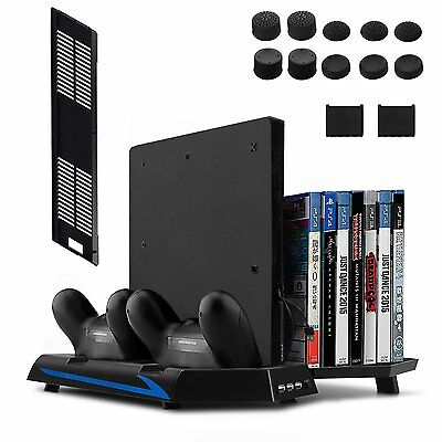 [Newest Version] Keten Vertical Stand for PS4 Slim / PS4 with Cooling Fan 2 in 1