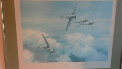 "FRAMED PRINT ""HURRICANE "" by ROBERT TAYLOR SIGNED WW11 PILOT BOB STANFORD TUCK"