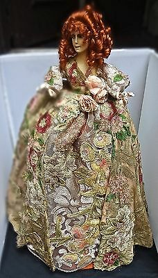 """Vintage Wax Over Composition 21"""" Tall Torso Doll 1920s Metallic Lace & Appliques"""