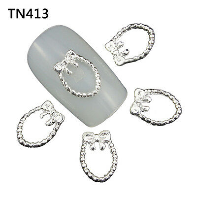 Blueness 10pcs 3D DIY Nail Art Metal Silver Charms Decorations TN413