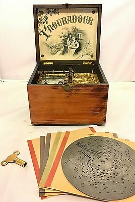 "Antique Victorian Troubadour 7"" Polyphon Clockwork Music Box Player With 5 Discs"
