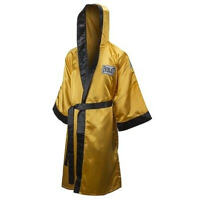 New Everlast Boxing Satin Robe Full Length w/ Hood Size: X-Large Color: Gold