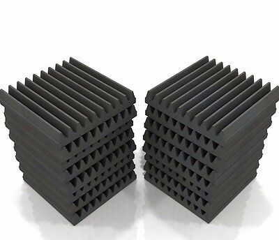 Acoustic Foam Tiles x16 (Grey) by EQ Acoustics Wedge 30 Sound Dampening Tile