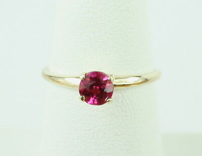 Vintage Art Deco 14K Gold Ruby Solitaire Engagement Ring